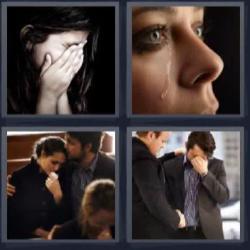 4 fotos 1 palabra 8 letras mujer tapándose la cara con las manos, mujer llorando, hombre muy triste.