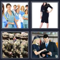 Respuesta 4 fotos 1 palabra personal médico, azafata de vuelo, fila de soldados