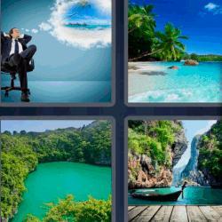 Respuesta 4 fotos 1 palabra 8 letras hombre con traje sentado pensando en una playa. Lago rodeado de selva. Barca o barco. Playa con palmeras.