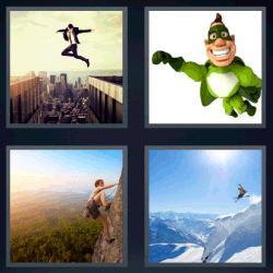 Respuesta 4 fotos 1 palabra 8 letras superhéroe verde, escalador, esquiador, hombre con traje saltando de un edificio a otro.