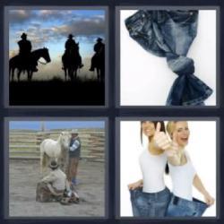 Respuesta 4 fotos 1 palabra caballos, pantalones vaqueros, jeans con un nudo, mujeres con pantalones muy anchos.