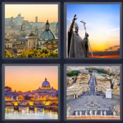 Respuesta 4 fotos 1 palabra 8 letras ciudad vista desde arriba con una cúpula, plaza, estatua religiosa, ciudad junto a un río