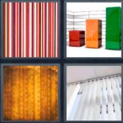 Respuesta 4 fotos 1 palabra 8 letras gráficos de columnas, rayas de colores, cortina veneciana de lamas blancas
