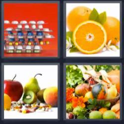 4 fotos 1 palabra 8 letras frutas, pastillas o medicamentos, naranjas, fuente con fruta
