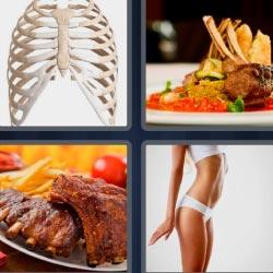 4 fotos 1 palabra 8 letras esqueleto, mujer delgada, carne asada, plato con costillas en salsa