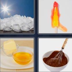 4 fotos 1 palabra 8 letras chocolate fundido, helado derritiéndose, cubitos de hielo al sol, bol con mantequilla y otro con aceite.