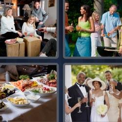 4 fotos 1 palabra 8 letras familia, barbacoa, boda, mesa con comida