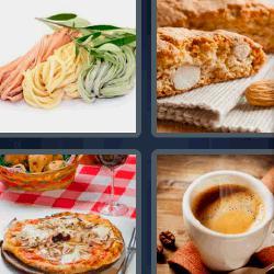 4 fotos 1 palabra 8 letras pasta pizza pastel café