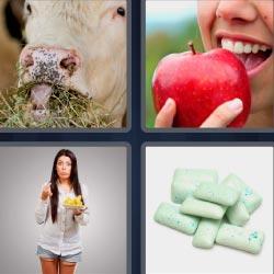 4 fotos 1 palabra 8 letras vaca, manzana, chicles, mujer comiendo