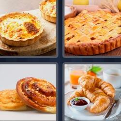 4 fotos 1 palabra 8 letras ensaimadas, pan de dulce, croissants, desayuno, tarta