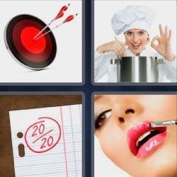 4 fotos 1 palabra 8 letras diana roja con flechas, mujer pintándose los labios, cocinera, calificaciones 20 sobre 20