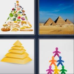 4 fotos 1 palabra 8 letras comida, pirámide amarilla, Egipto, muñecos de colores