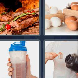 4 fotos 1 palabra carne a la brasa huevos batido de chocolate