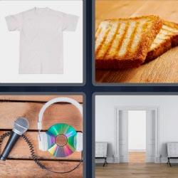 4 fotos 1 palabra 8 letras tostadas, camiseta o playera, micro, puerta