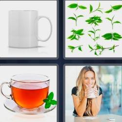 4 fotos 1 palabra infusión hierbas mujer tomando