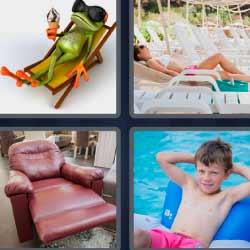 4 fotos 1 palabra rana descansando niño sillón