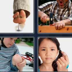 4 fotos 1 palabra solución 2 letras herida martillo
