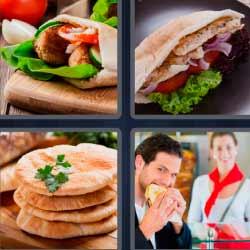 4 fotos 1 palabra sandwich emparedado pita